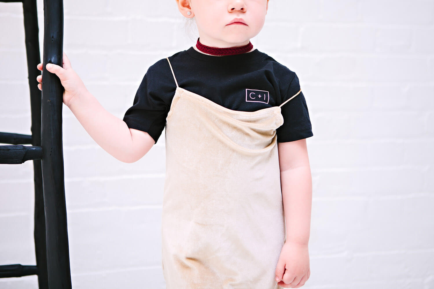 CI kids t-shirt, champagne velvet coco slip dress
