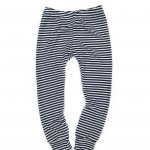 Navy & White Striped Cuff Leggings